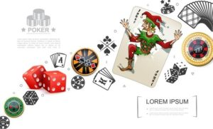realistic gambling poker elements concept with joker playing card dices colorful casino chips 1284 50948